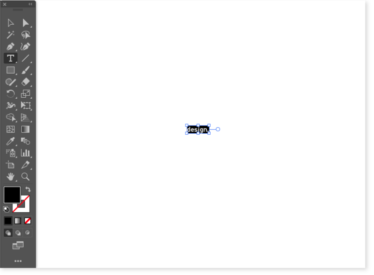 """A screenshot of an Adobe Illustrator window with the word """"design"""" in a text box. The word is written in one of most beautifully subtle fonts known to humankind, DINPro."""